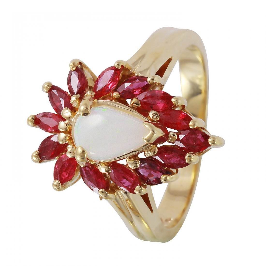 14KT Yellow Gold Vintage Opal and Ruby Ladies Ring