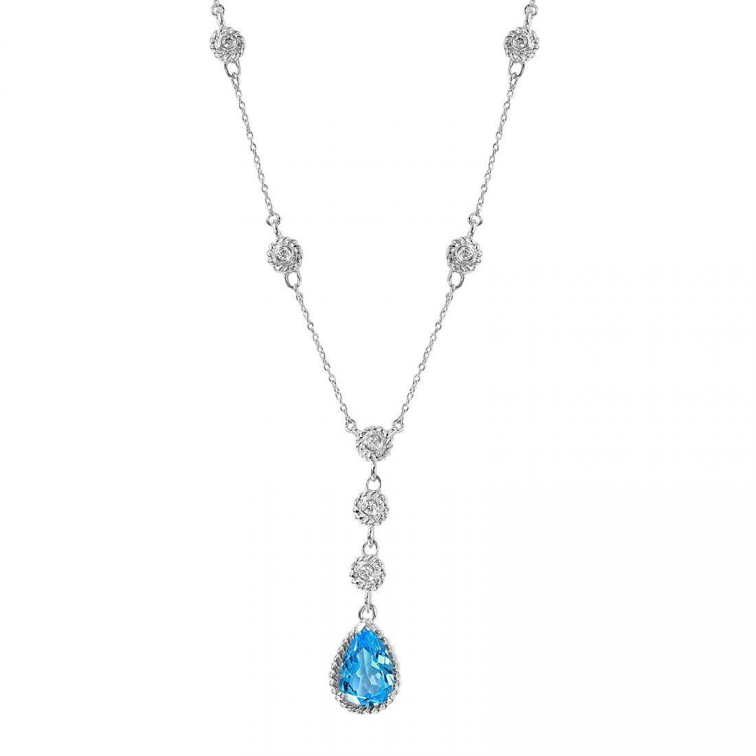 14KT White Gold Topaz and Diamond Necklace