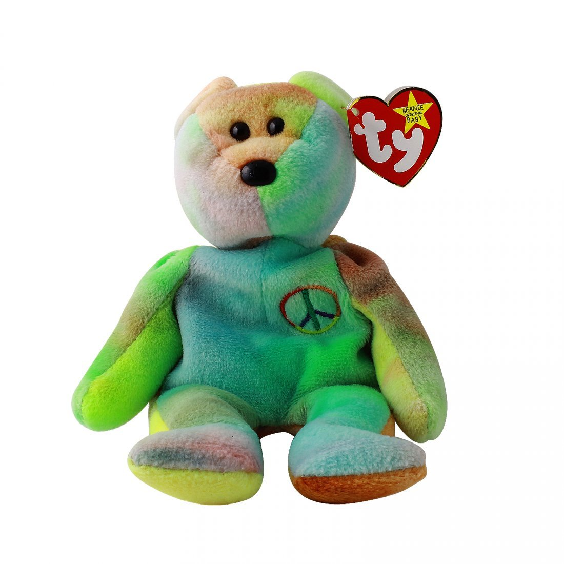 Discontinued TY Beanie Baby Multi-Colored PEACE BEAR: