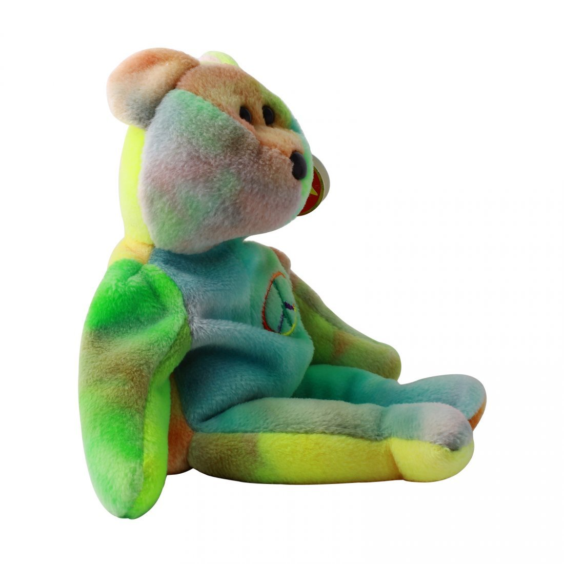 Discontinued TY Beanie Baby Multi-Colored PEACE BEAR: - 2