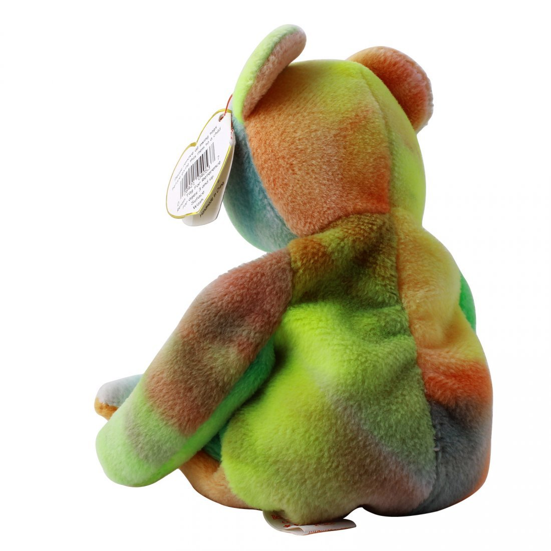 Discontinued TY Beanie Baby Multi-Colored PEACE BEAR: - 3
