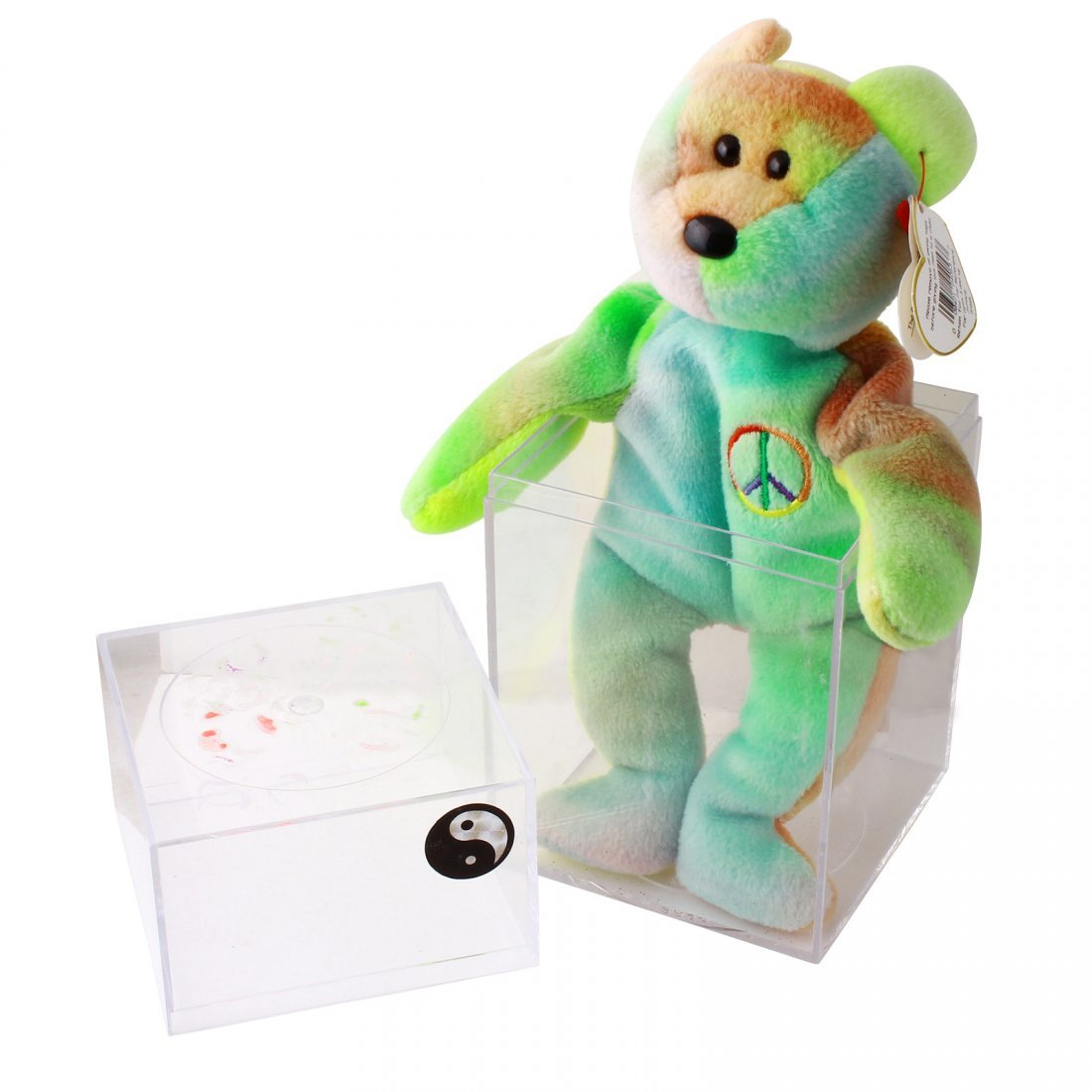 Discontinued TY Beanie Baby Multi-Colored PEACE BEAR: - 5