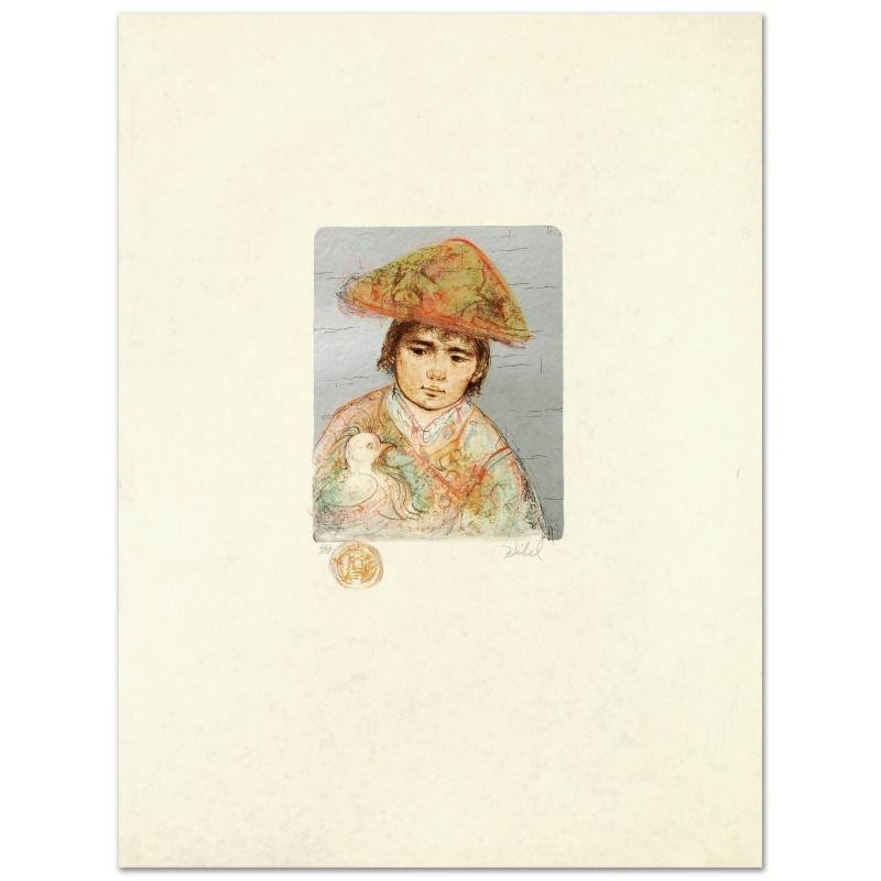"""Boy with Chicken"" Limited Edition Lithograph by Edna"