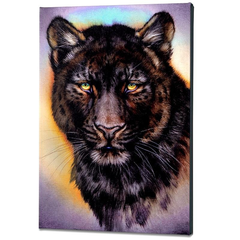 """Black Phase Leopard"" Limited Edition Giclee on Gallery"