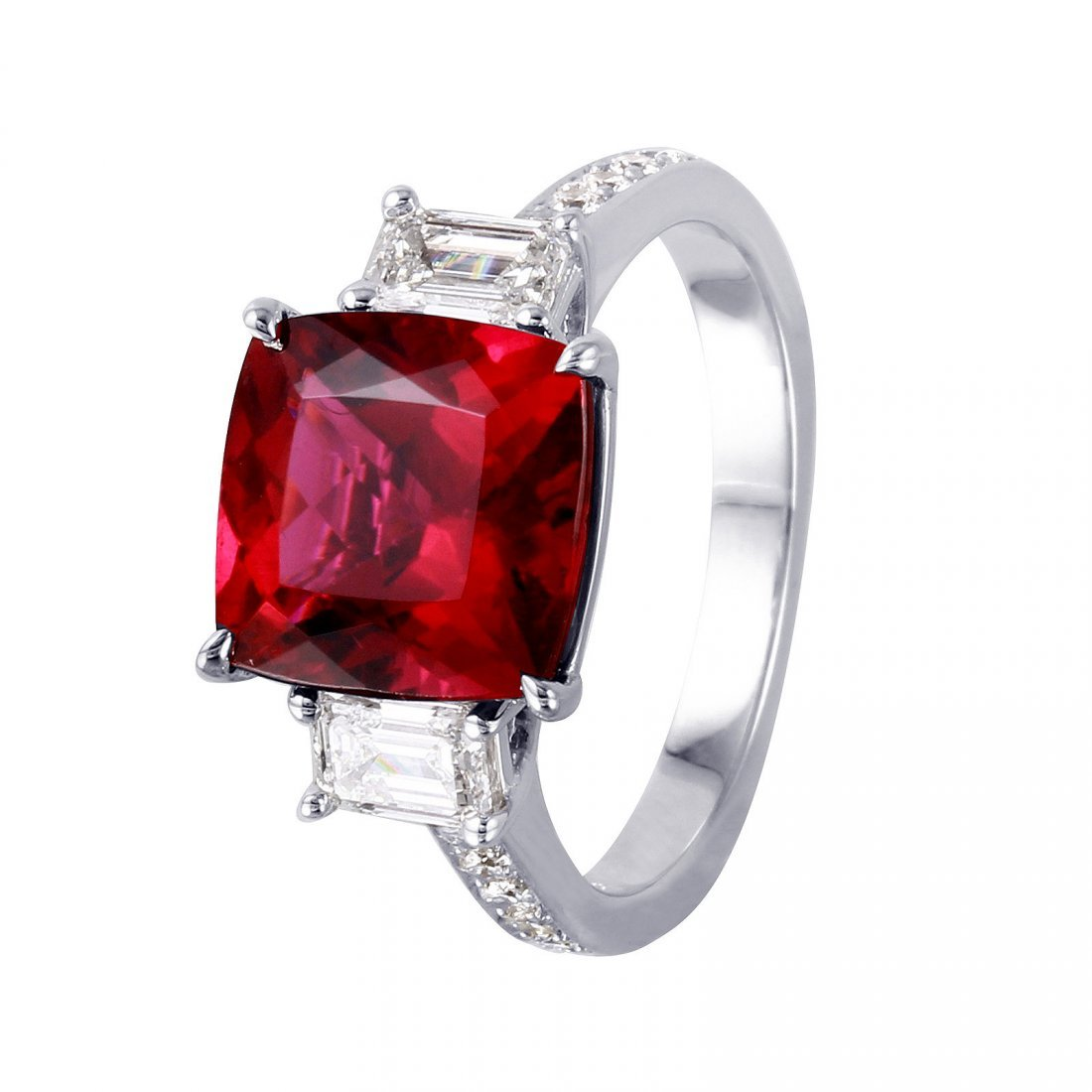 18KT White Gold Rubellite and Diamond Ring