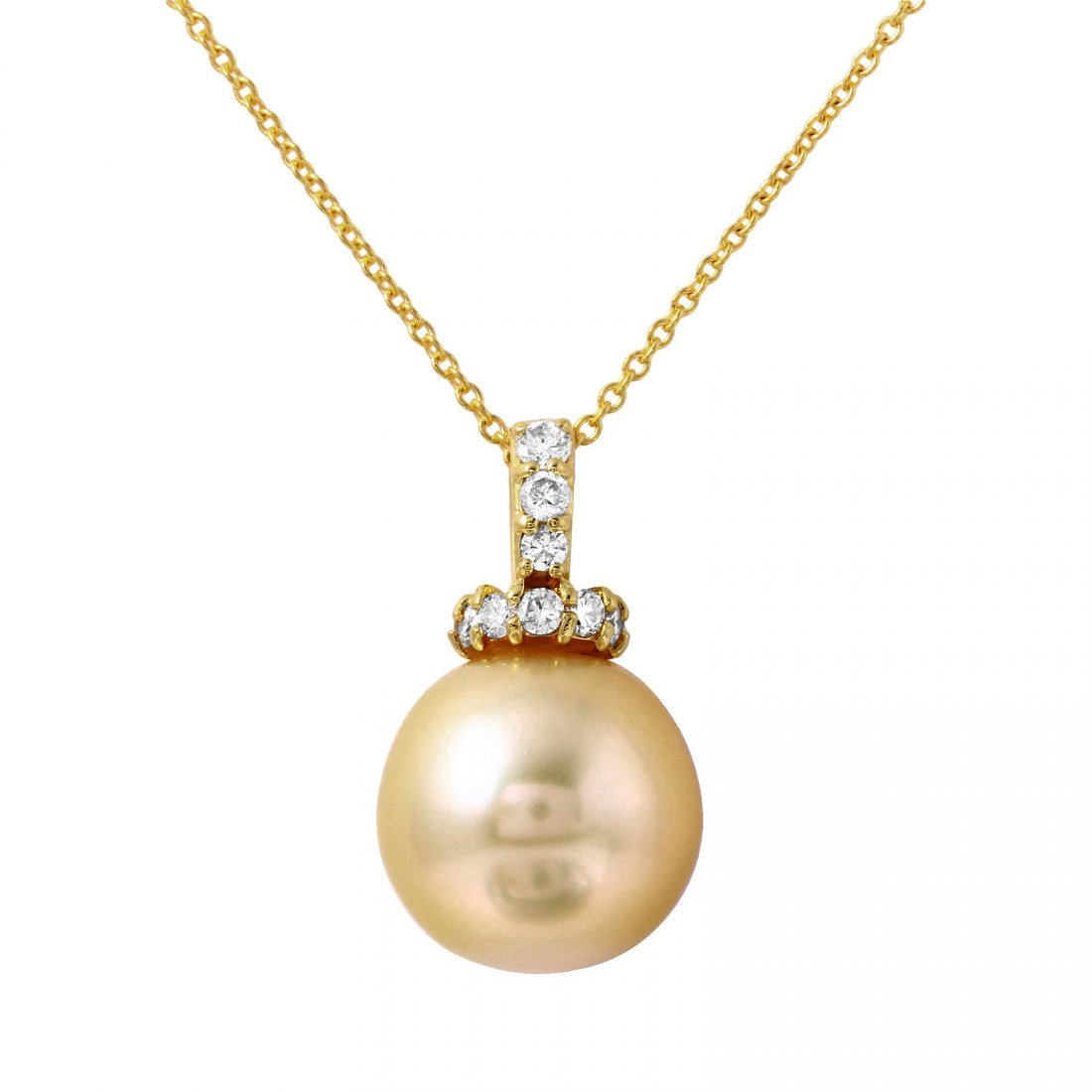 14-18KT Yellow Gold Pearl and Diamond Pendant and Chain