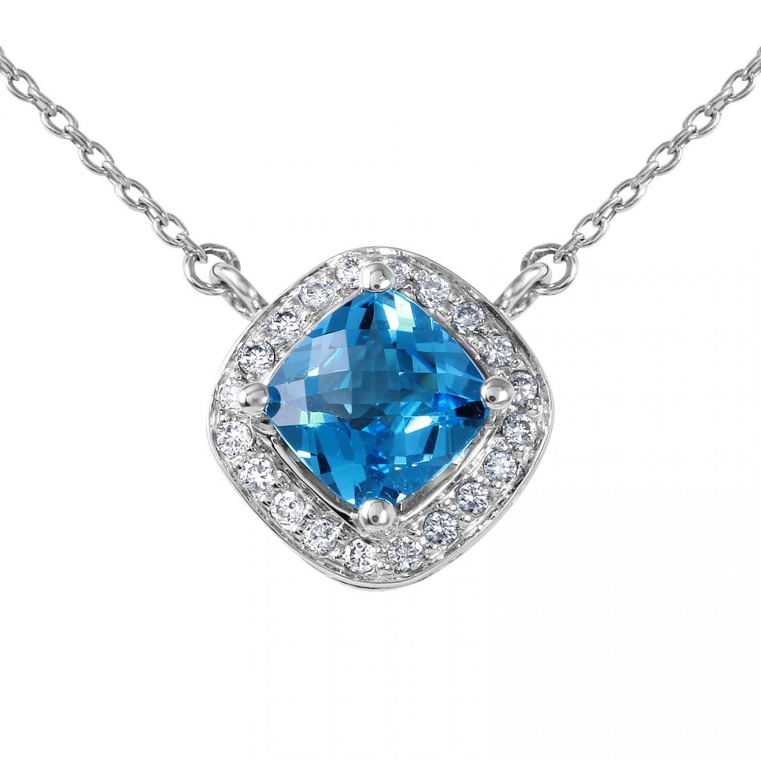 14KT White Gold Topaz and Diamond Pendant Necklace