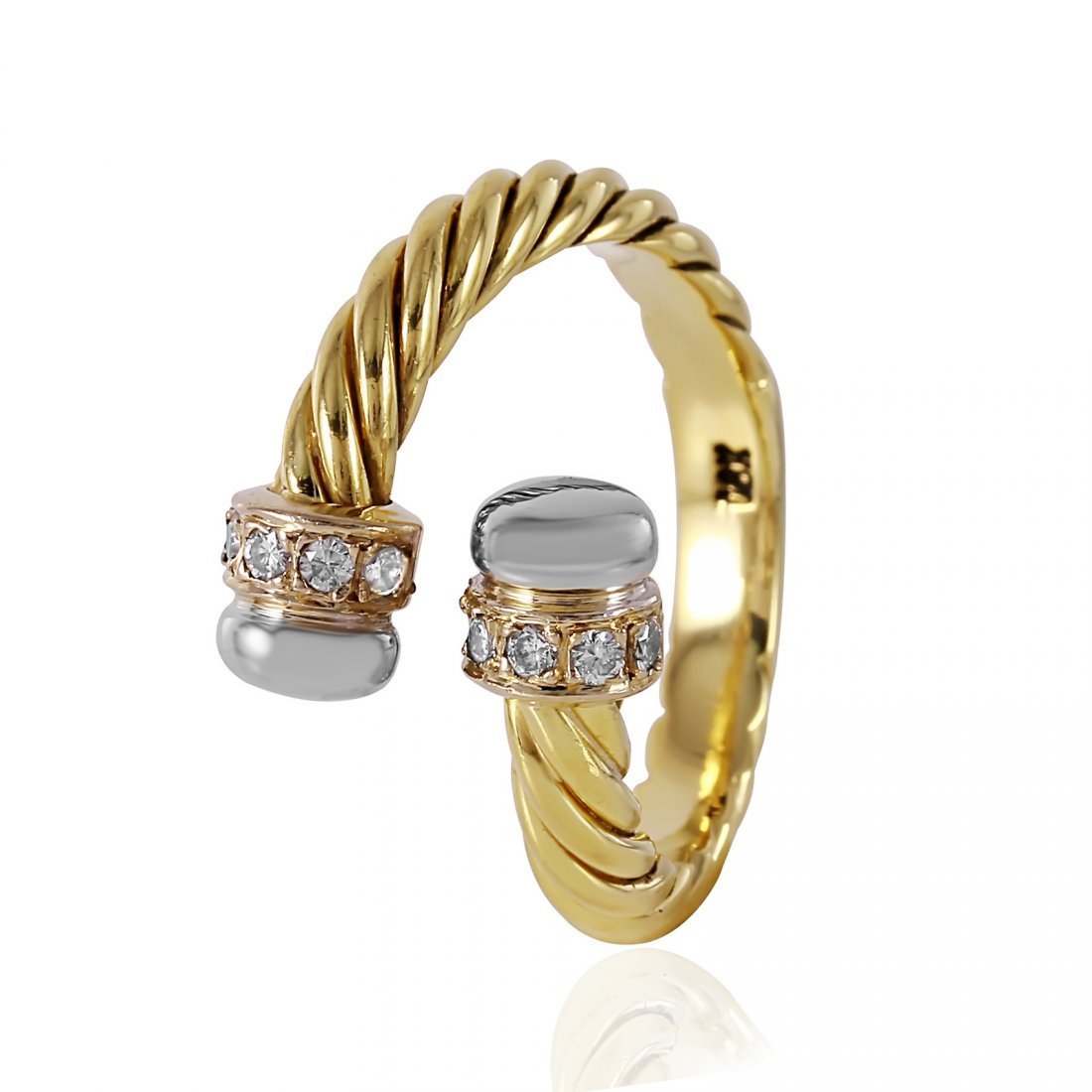 18KT Yellow Gold Diamond Twisted Rope Ring
