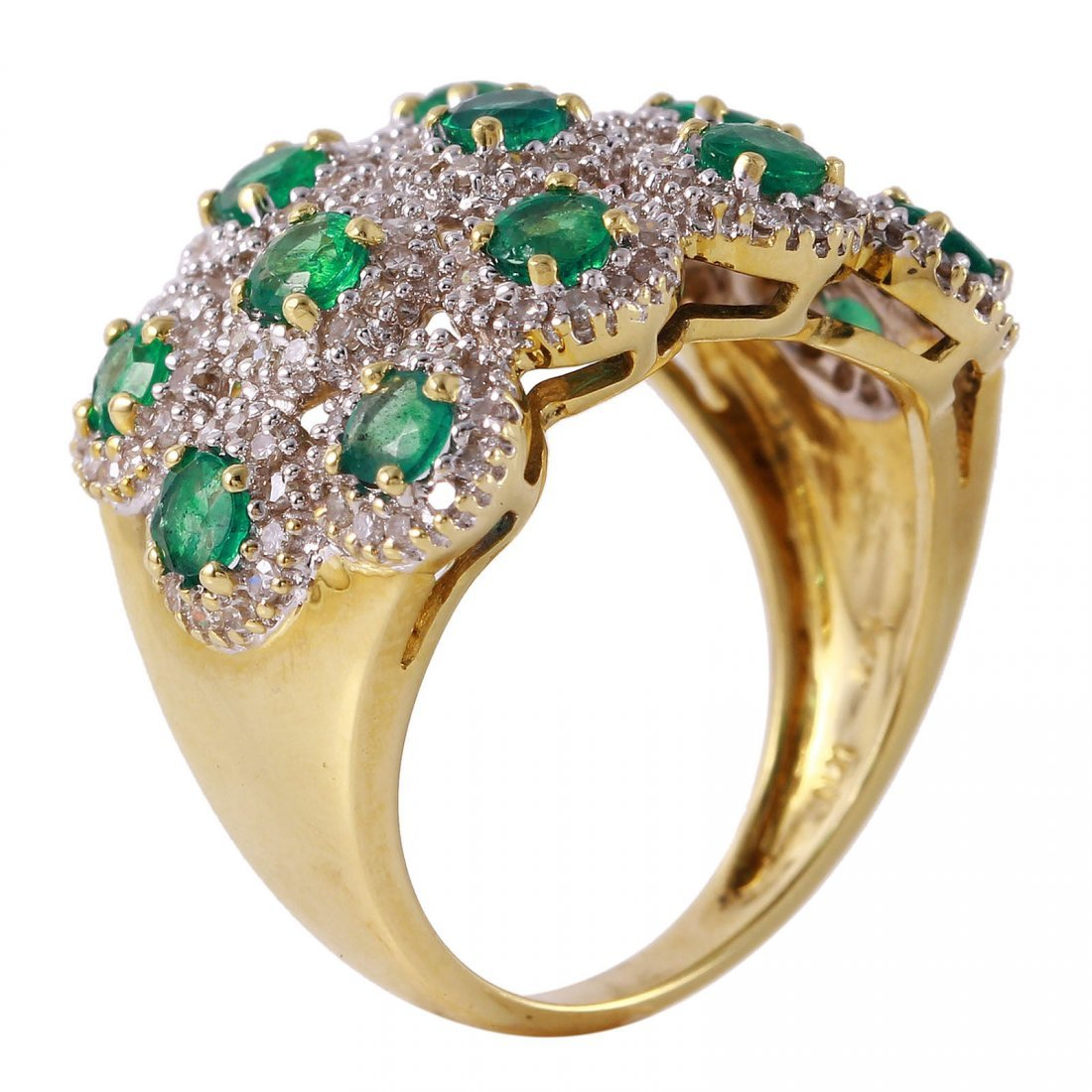 14KT Yellow Gold Emerald and Diamond Ring - 2