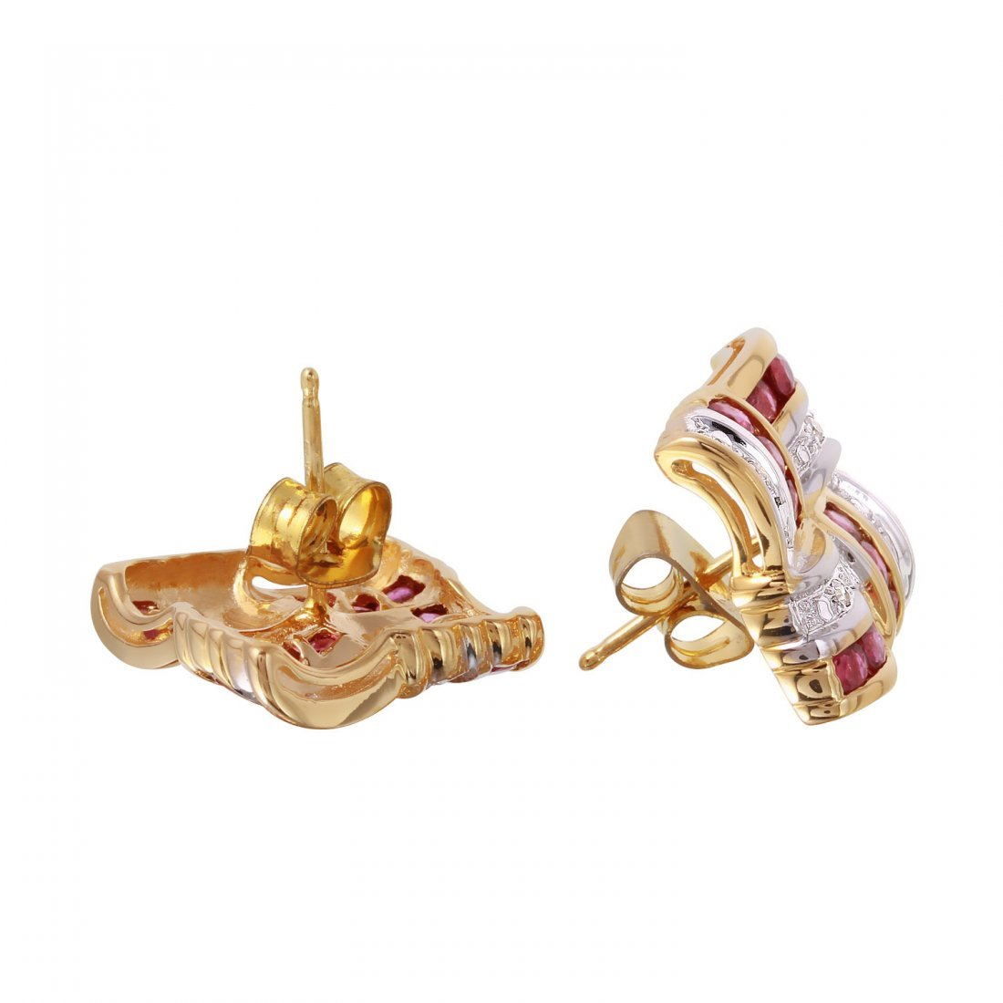 14KT Yellow Gold Diamond and Ruby Earrings - 2