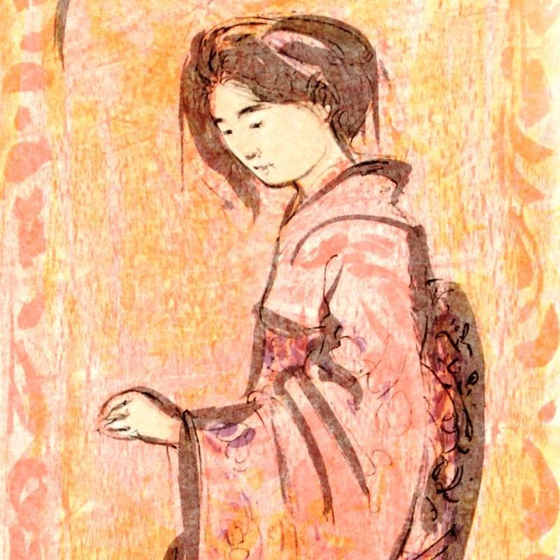 """Ume"" Limited Edition Lithograph by Edna Hibel - 2"