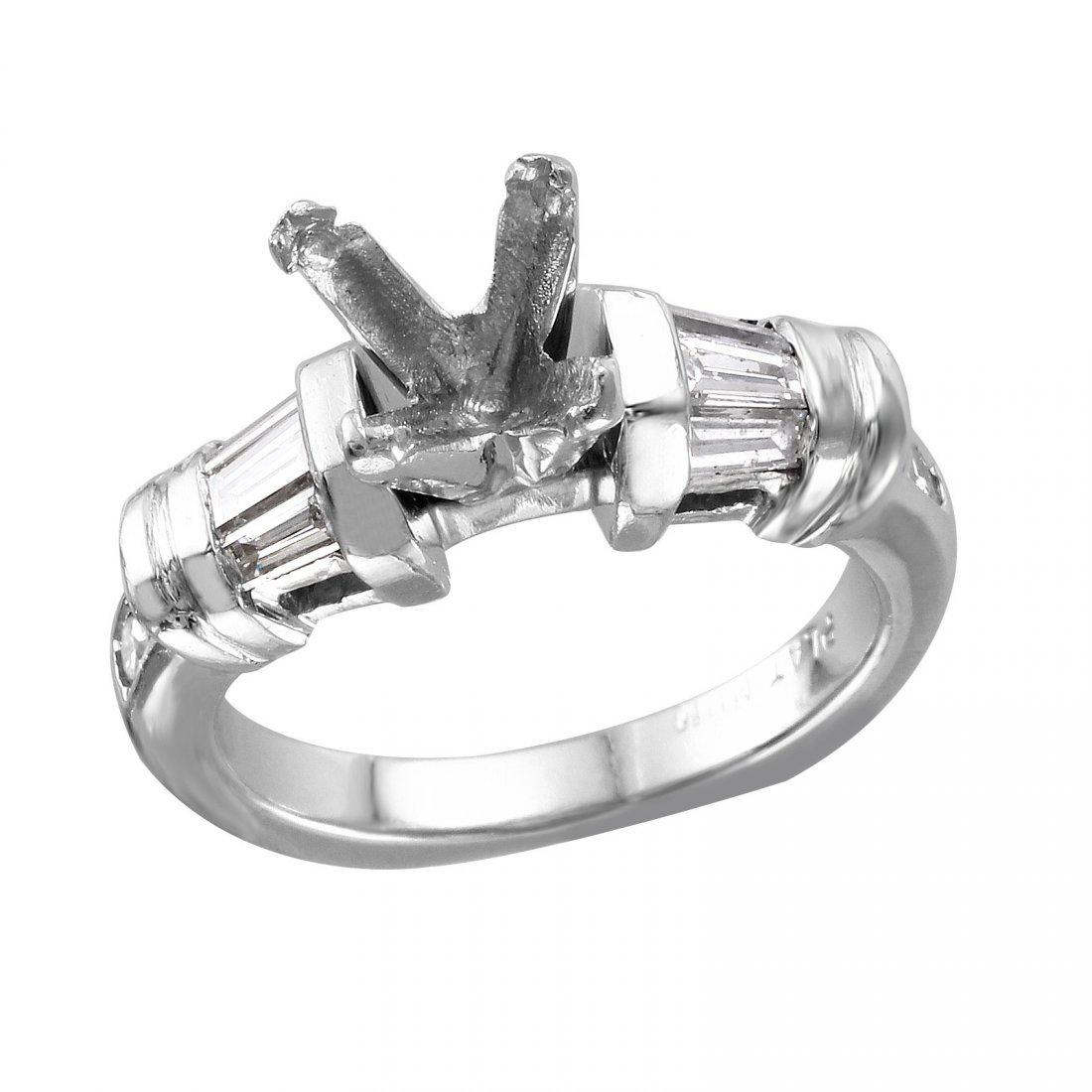 Platinum Semi-Mounting Mixed Diamond Engagement Ring