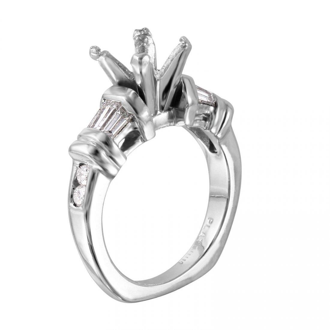 Platinum Semi-Mounting Mixed Diamond Engagement Ring - 2