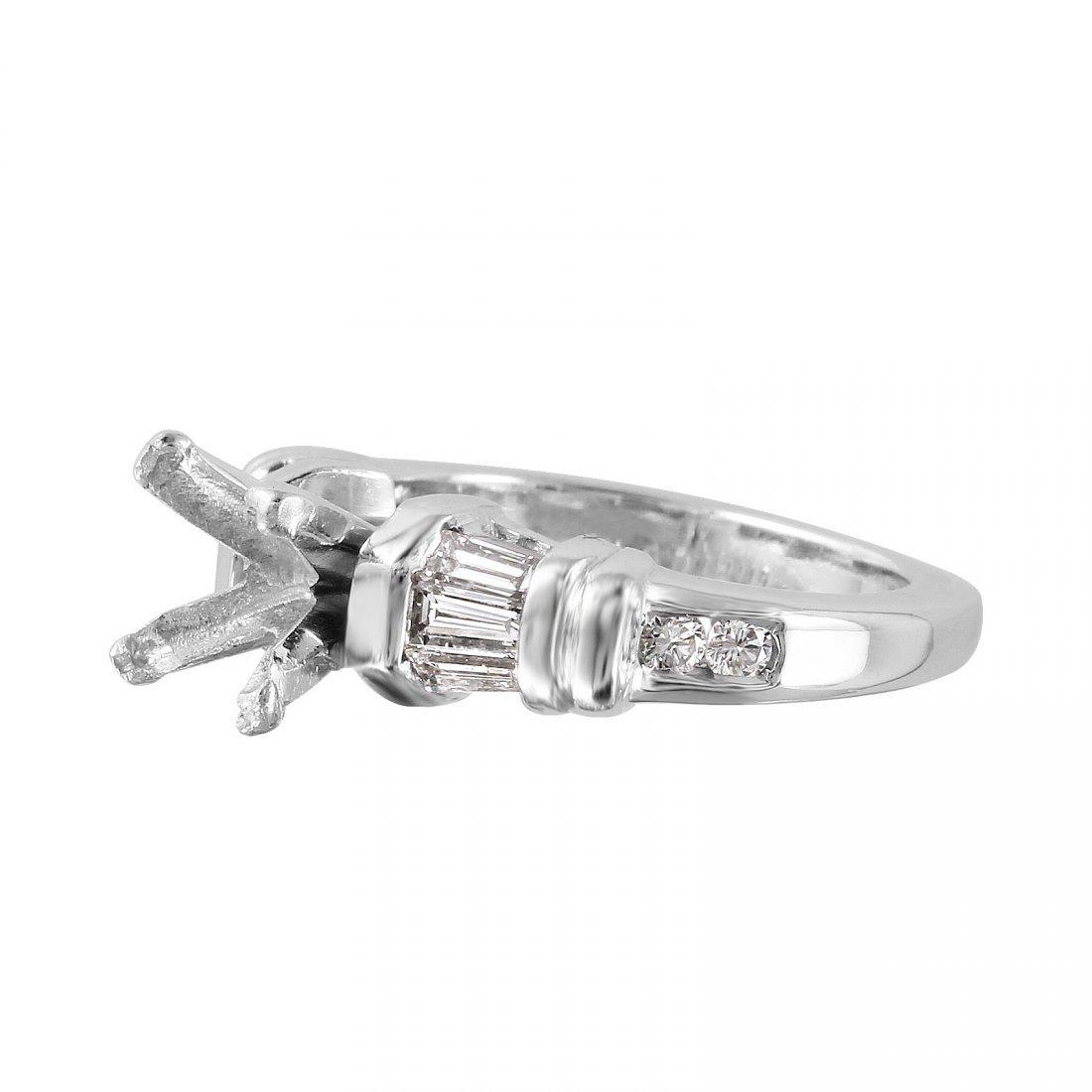 Platinum Semi-Mounting Mixed Diamond Engagement Ring - 3