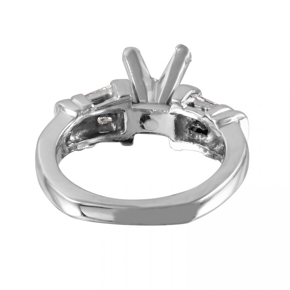 Platinum Semi-Mounting Mixed Diamond Engagement Ring - 4