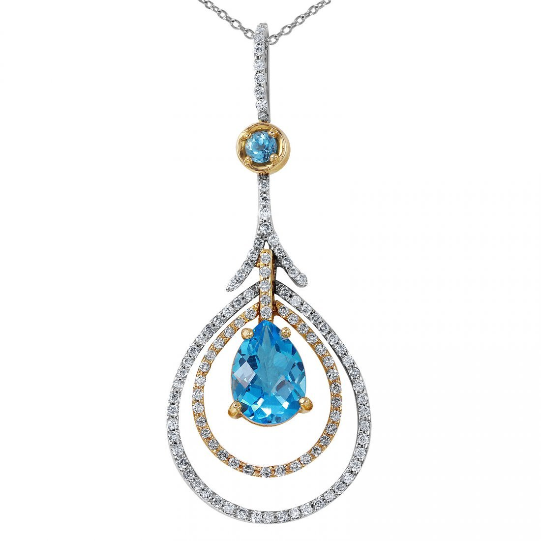 14KT White and Yellow Topaz and Diamond Pendant and