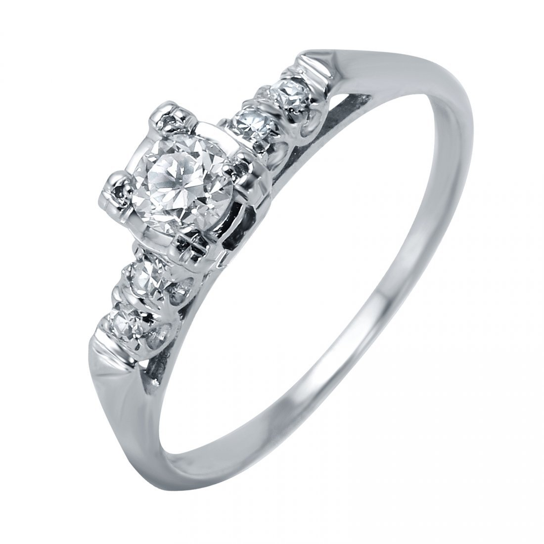 14KT White Gold Vintage Style Diamond Engagement Ring