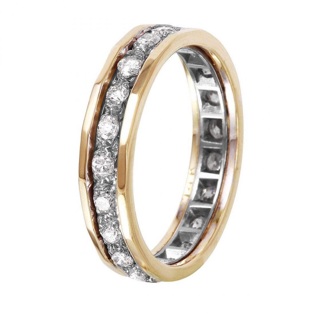 14KT Yellow and White Gold Diamond Eternity Band