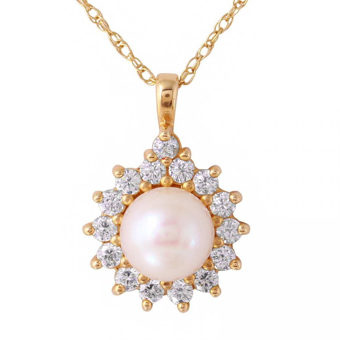 14KT Yellow Gold Pearl and Topaz Pendant & Chain