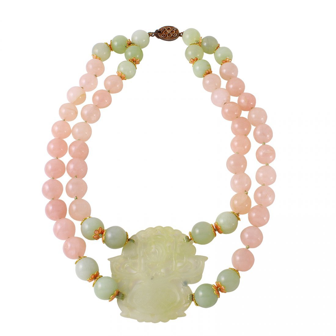 Multi-Colored Jade Double Strand Carved Center Piece