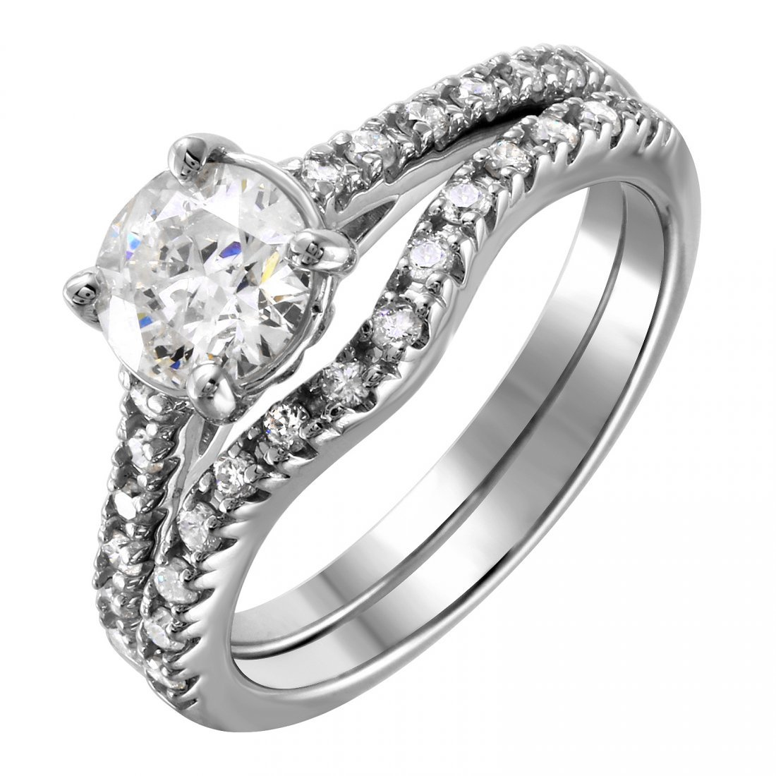14KT White Gold Diamond Engagement Ring and Guard