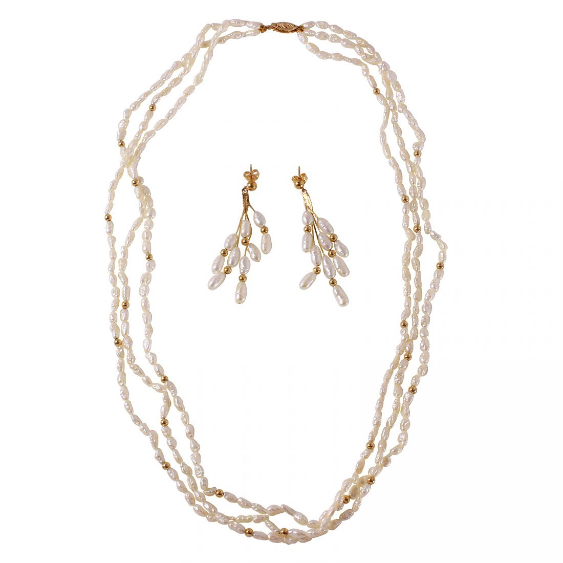 14KT Yellow Gold Pearl Necklace and Earrings