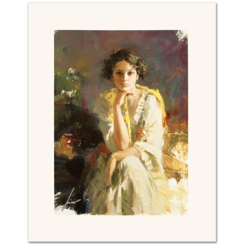 """Yellow Shawl"" Limited Edition Giclee on Canvas by Pino"