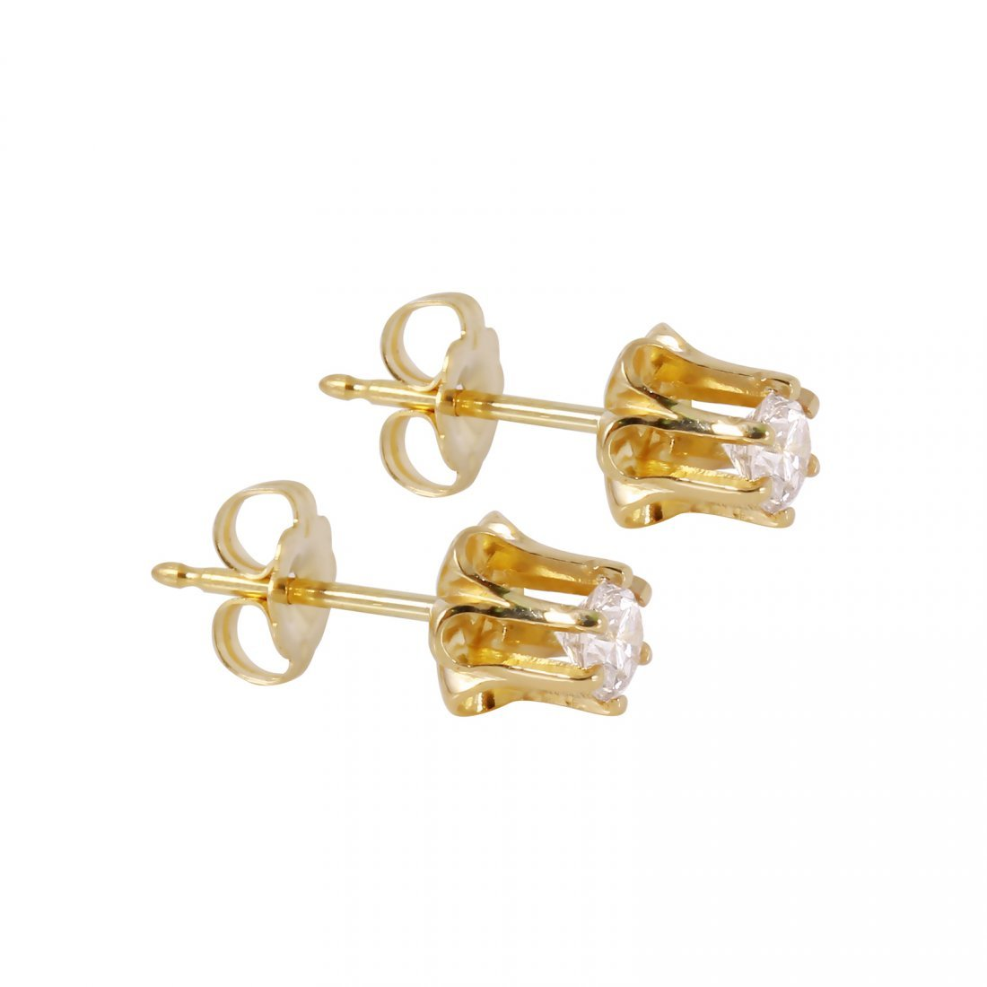 These flower stud earrings feature two round brilliant - 2
