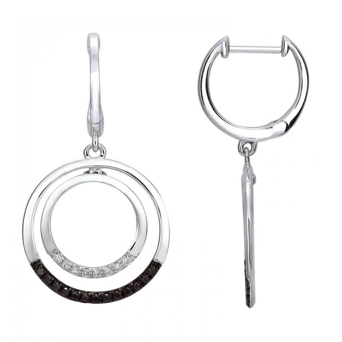 These brightly polished 14KT white gold earring