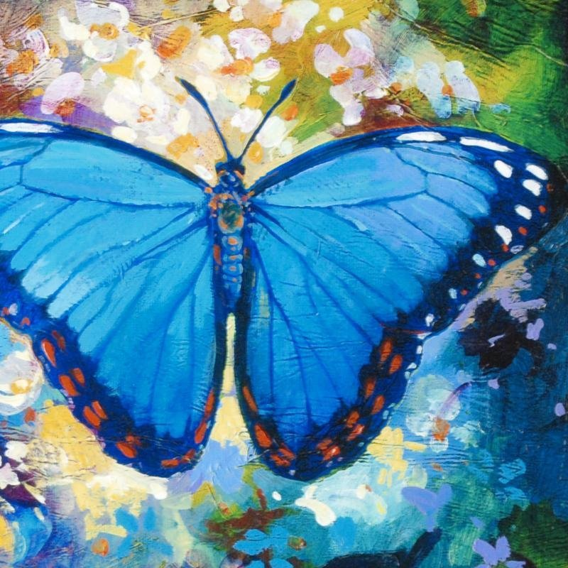 """Blue Morpho"" Limited Edition Giclee on Canvas by Simon - 2"