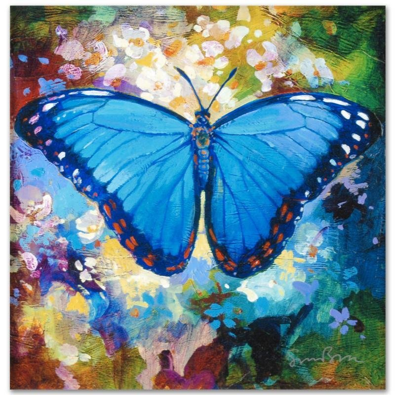 """Blue Morpho"" Limited Edition Giclee on Canvas by Simon - 3"
