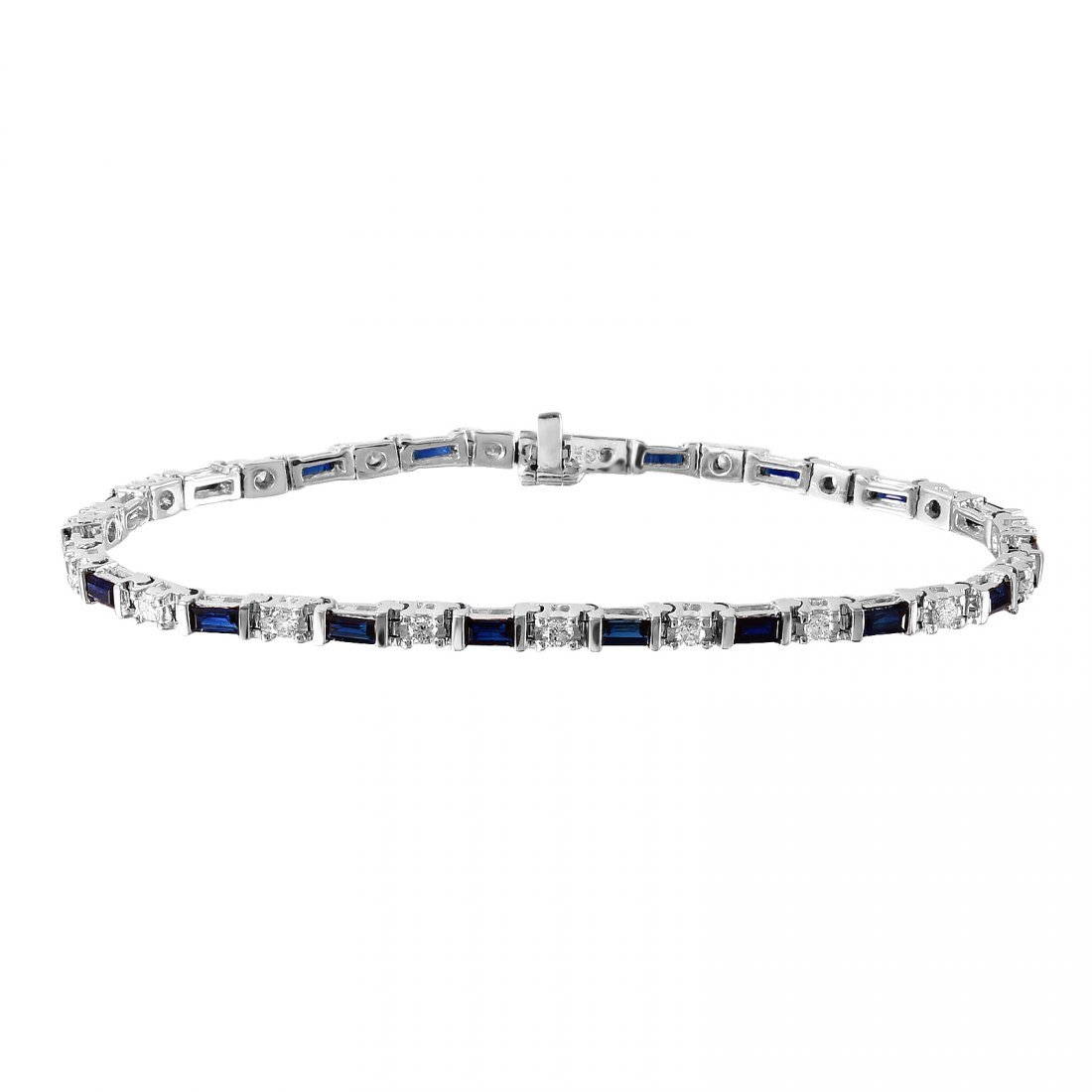 14KT White Gold Sapphire and Diamond Bracelet