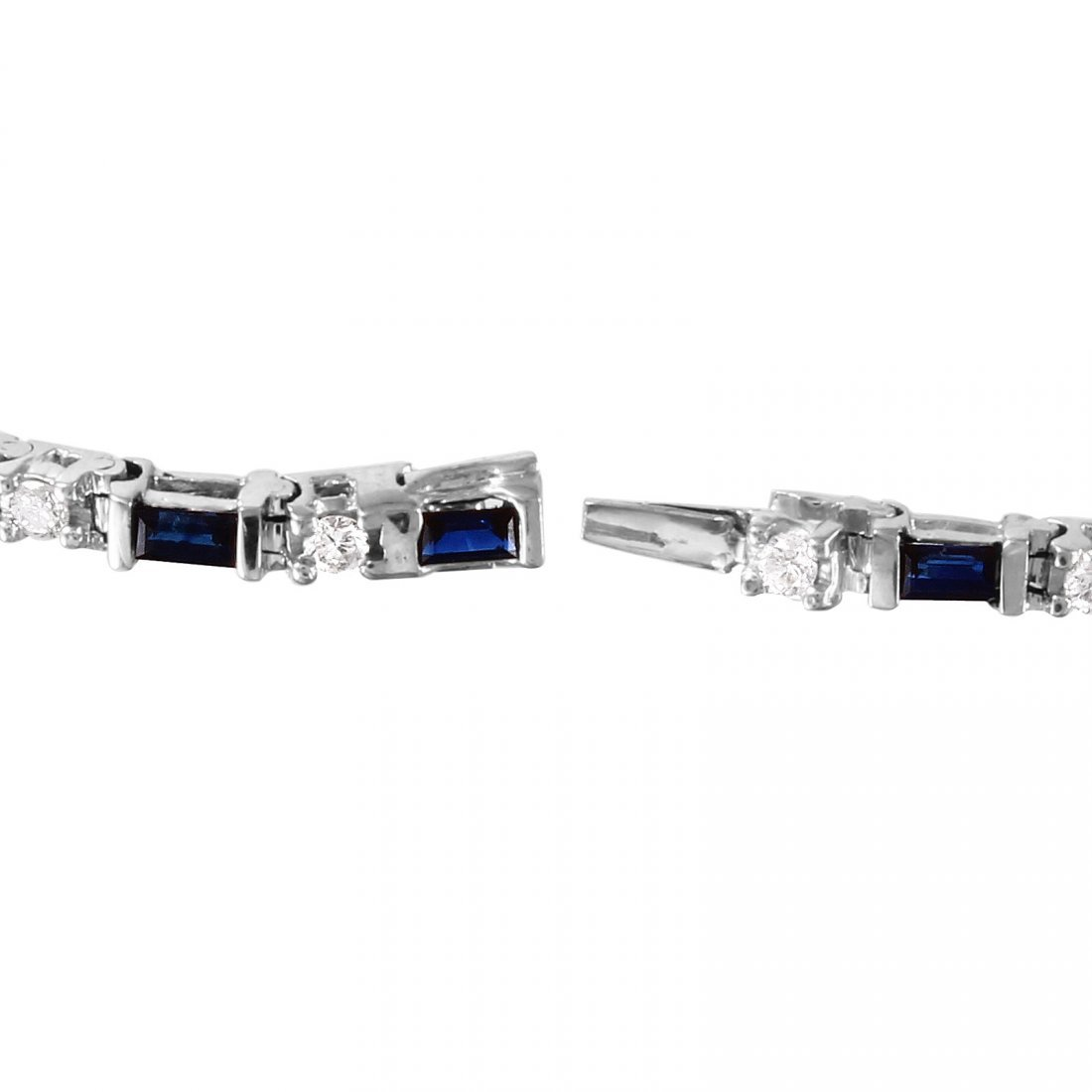 14KT White Gold Sapphire and Diamond Bracelet - 2