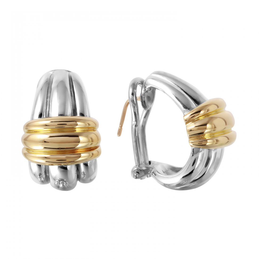 18KT Yellow Gold and Sterling Silver Earrings - 2