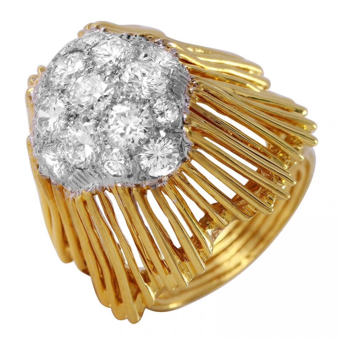 18KT Yellow Gold Pave Diamond  Ring