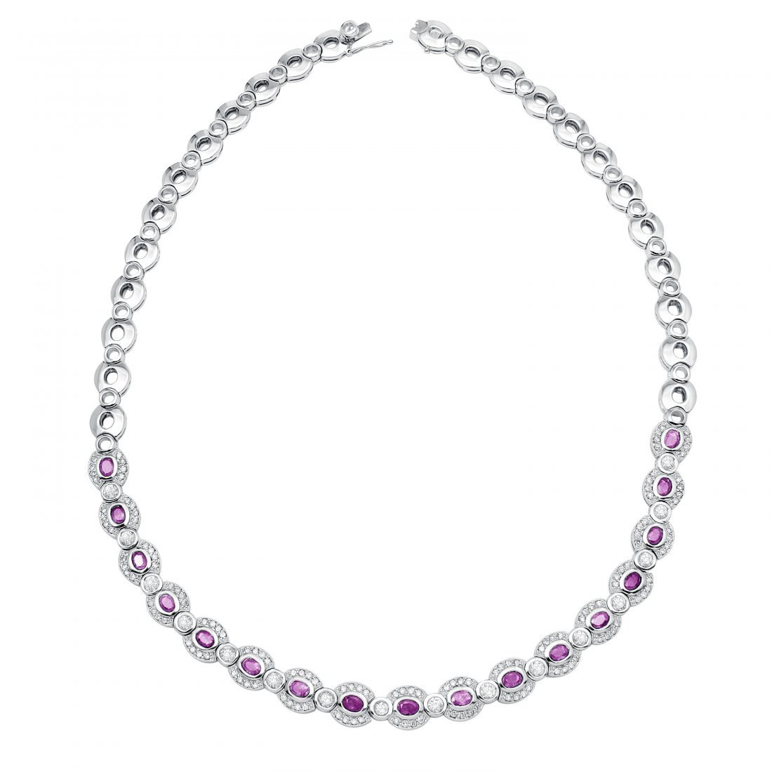 14KT White Gold Sapphire Necklace
