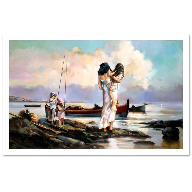 """By The Shore"" Limited Edition Giclee on Canvas by Ron"