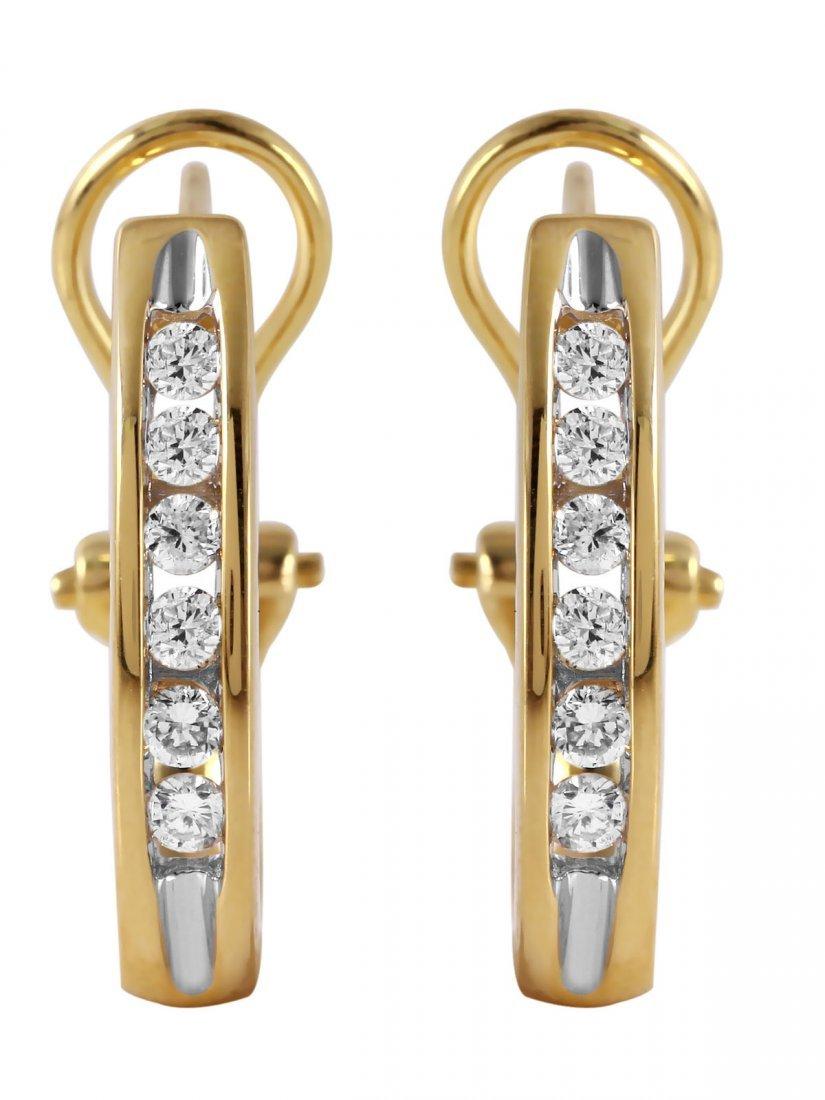 14KT Yellow Gold Diamond Omega Earrings