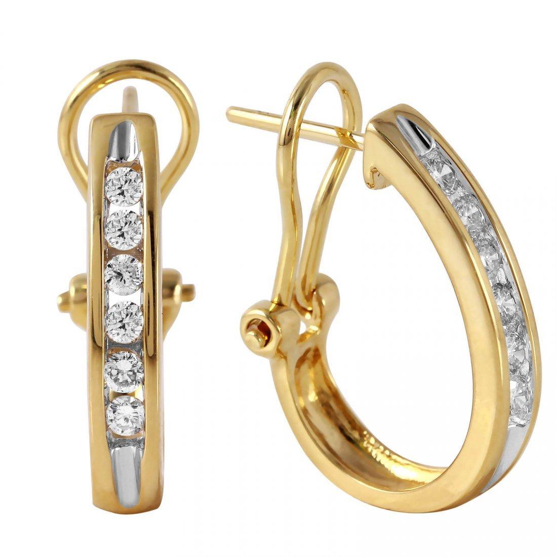 14KT Yellow Gold Diamond Omega Earrings - 2