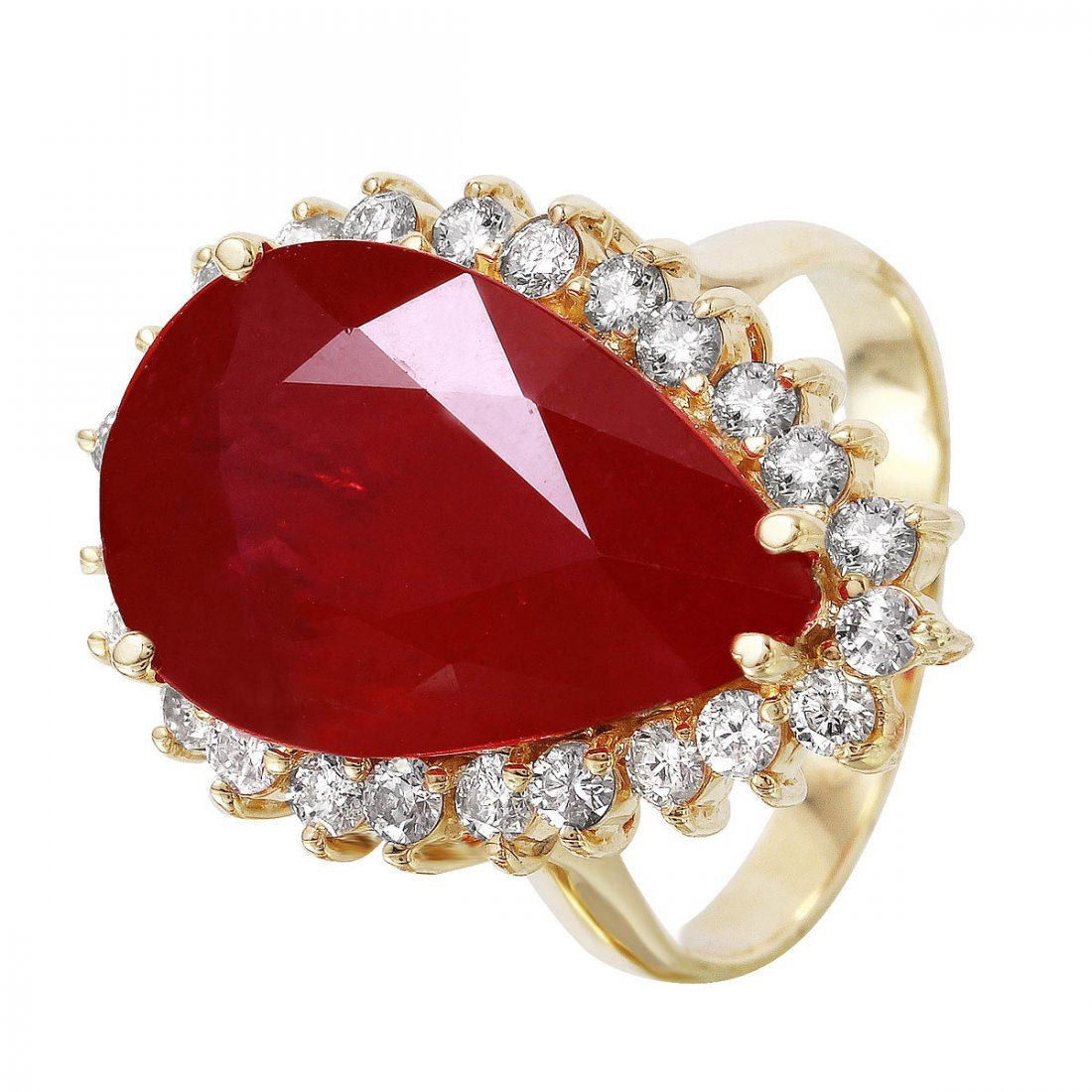 14KT Yellow Gold Ruby & Diamond Ring