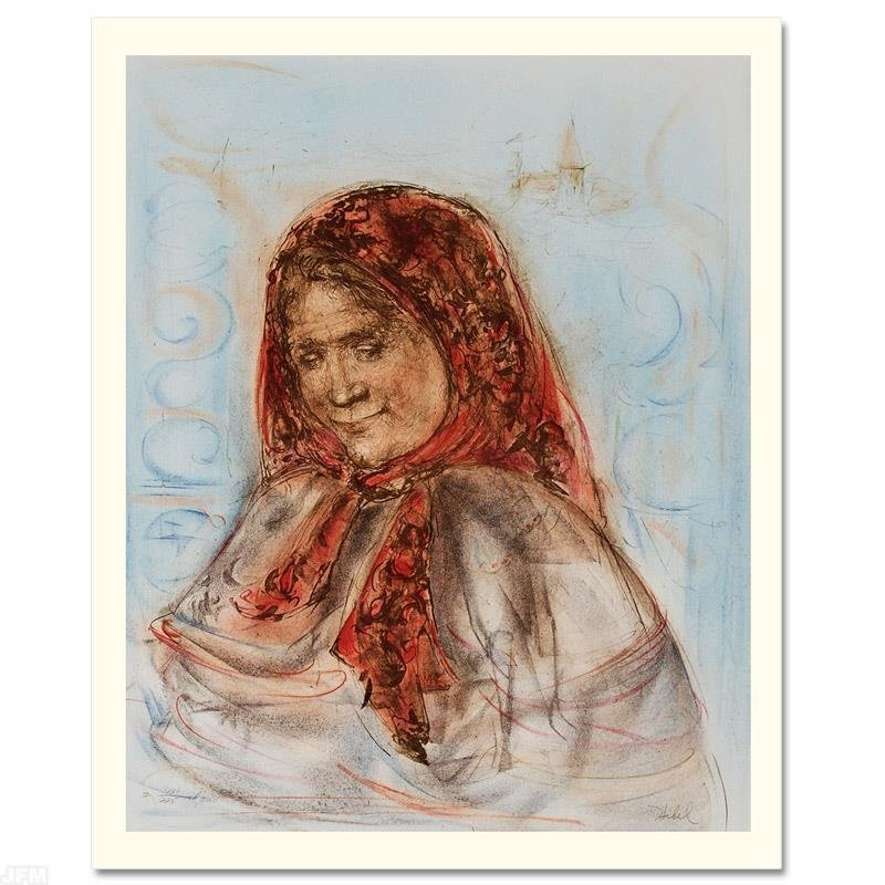 """Swiss Woman"" Limited Edition Lithograph by Edna Hibel"