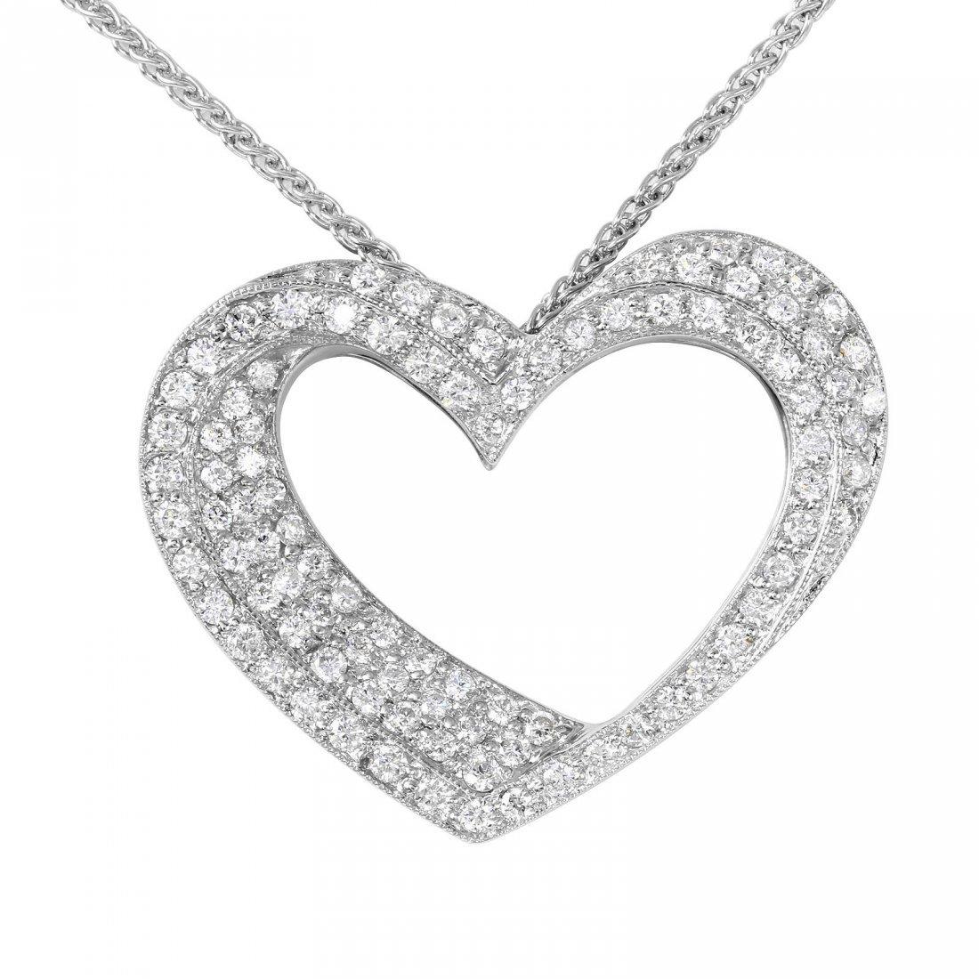 18KT White Gold Diamond Pendant & Chain