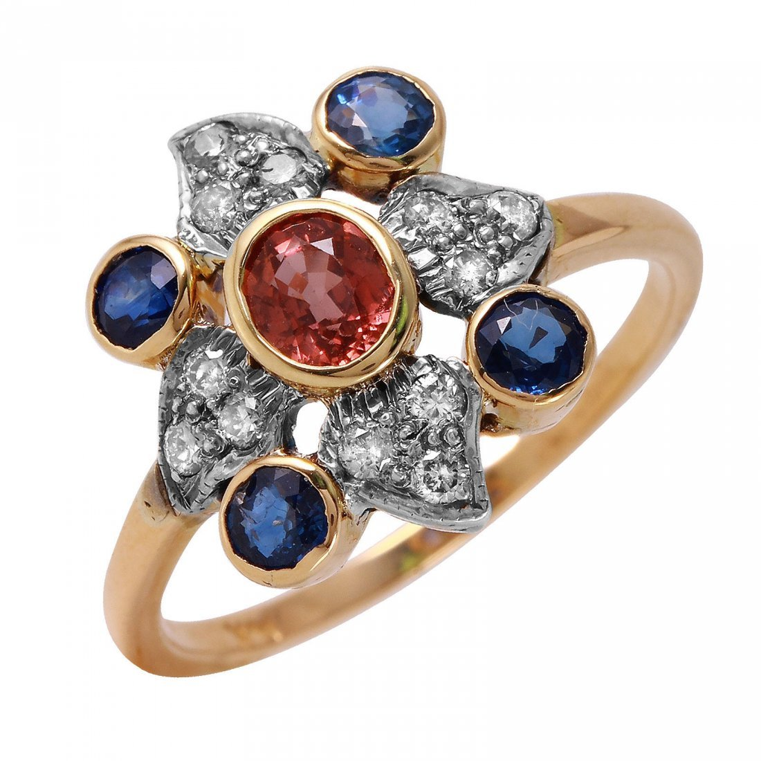 14KT Yellow Gold Padparadscha Sapphire Ring