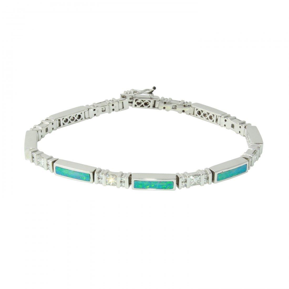 Mati Kabana 14KT White Gold Diamond Opal Bracelet