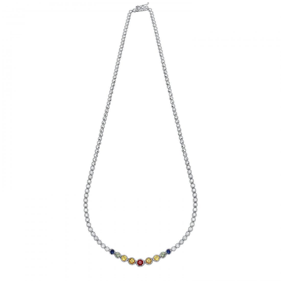 18KT White Gold Gemstone Necklace
