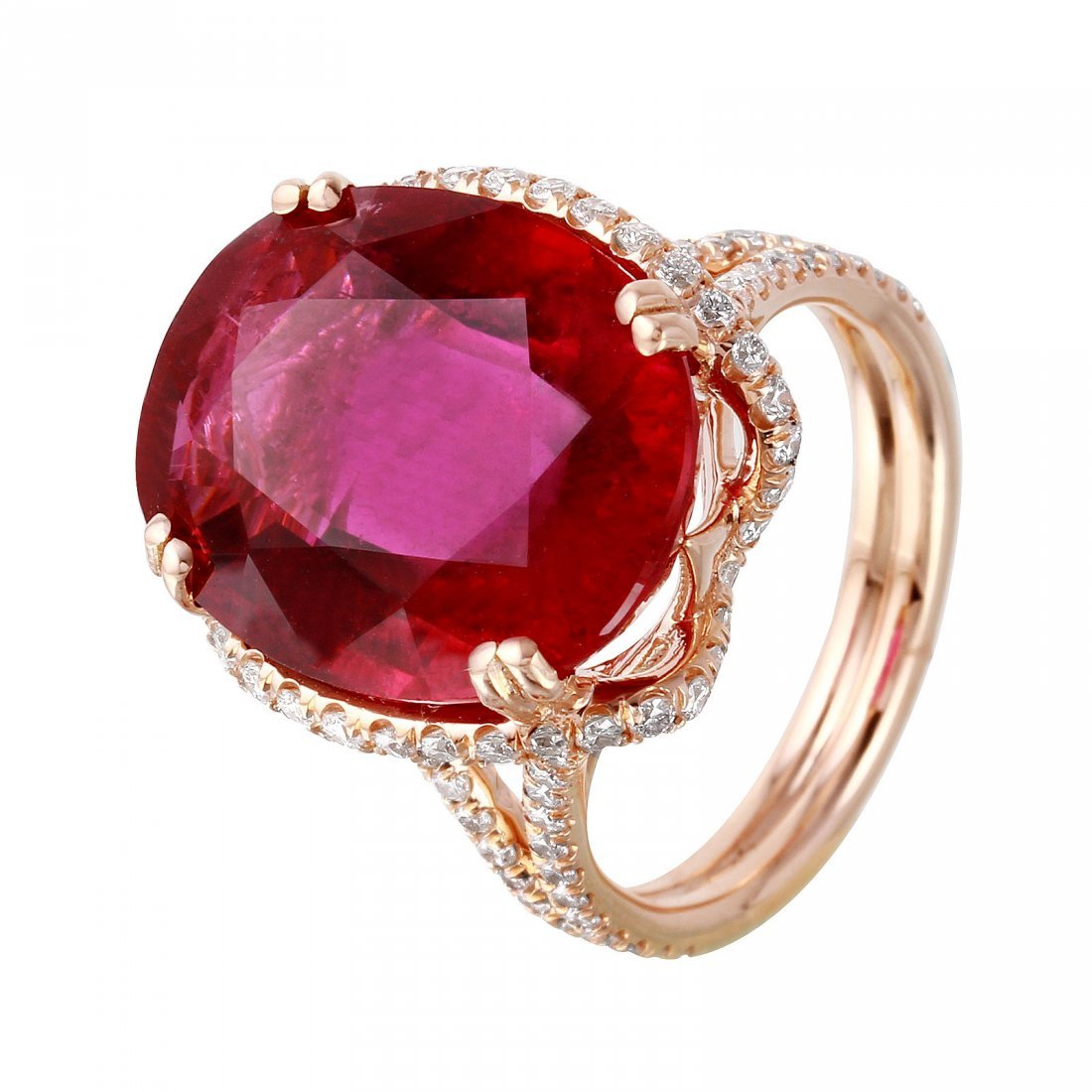 14KT Rose Gold Rubellite and Diamond Ring