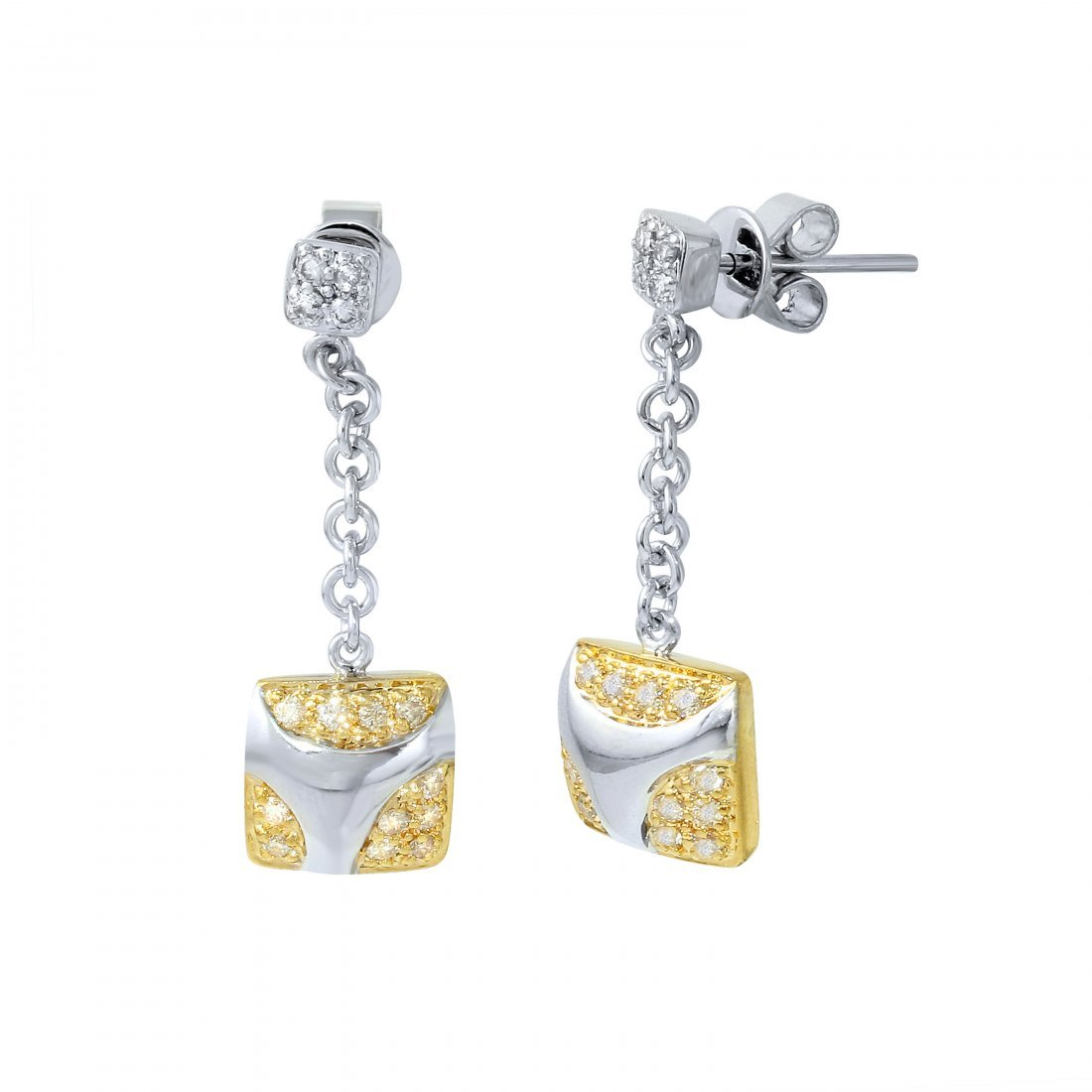 14KT Two Tone Gold Diamond Dangle Earrings