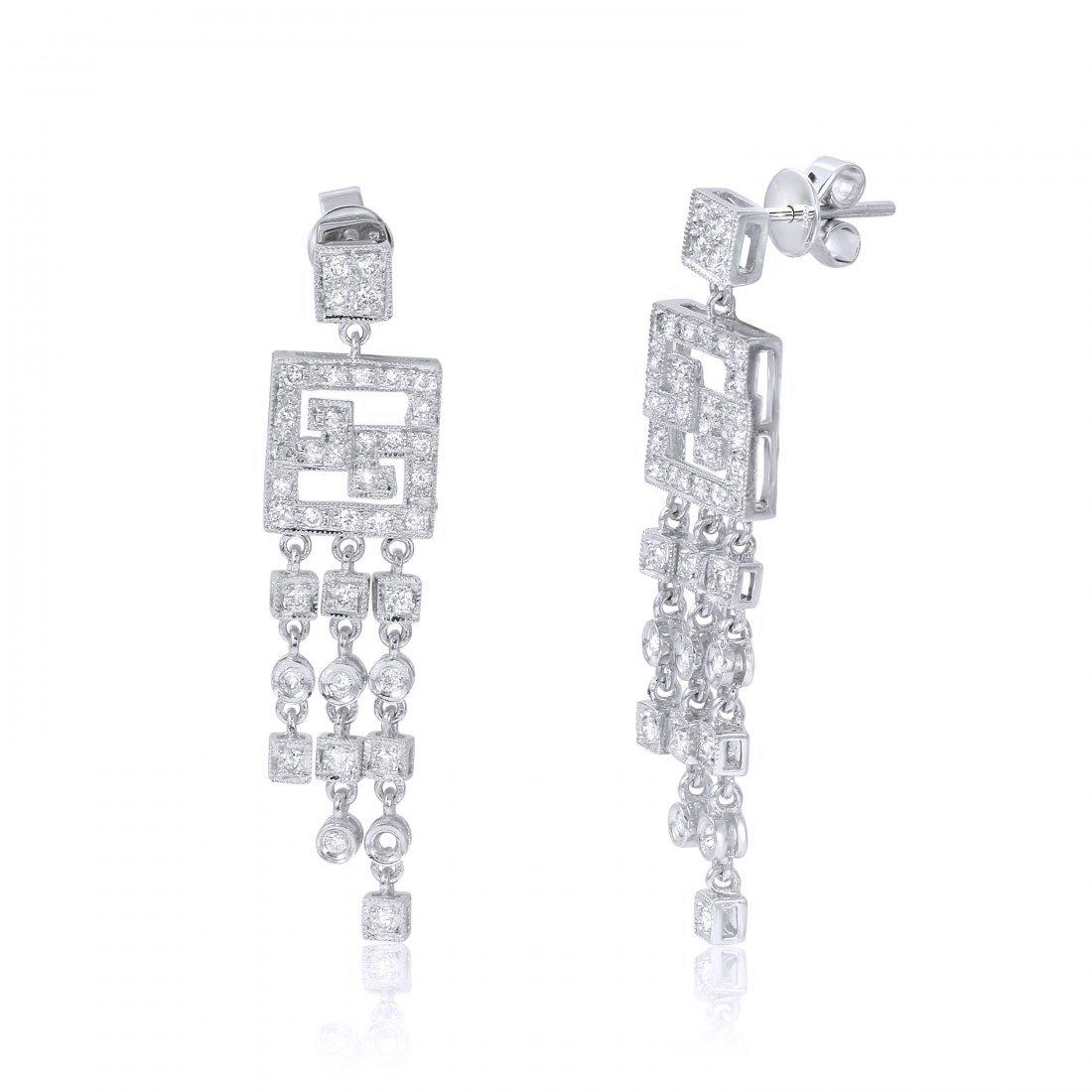 14KT White Gold Diamond Chandelier Earrings