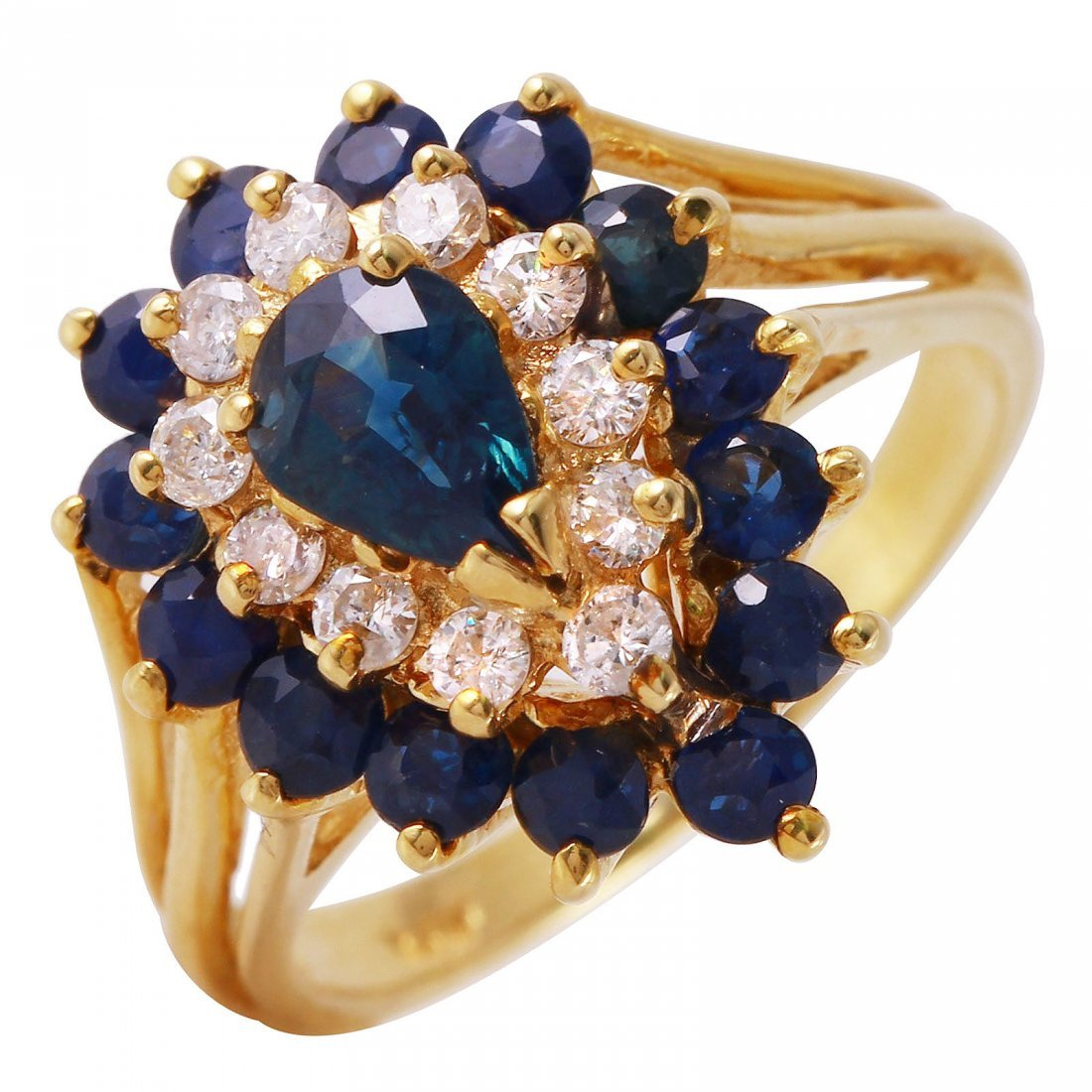 14KT Yellow Gold Sapphire & Diamond Ring