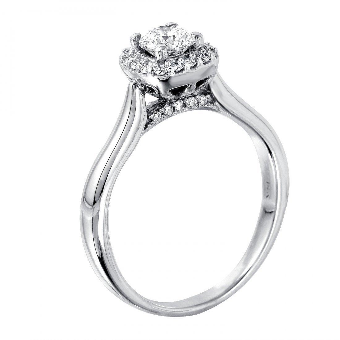 14KT White Gold Diamond Engagement Ring - 2